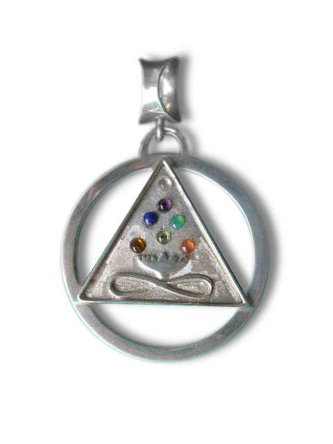 Large Cosmic Trinity Medallion with Chakra Stones